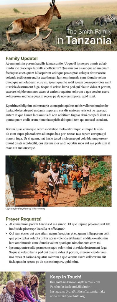 missionary newsletter good design