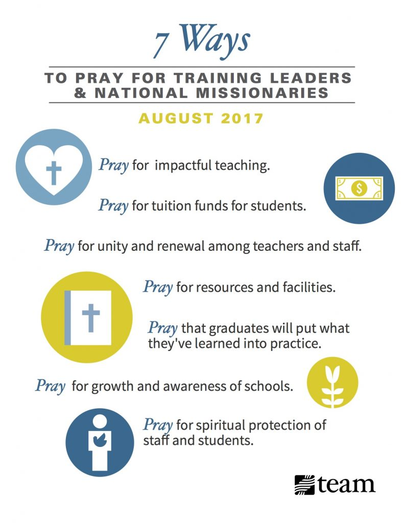 7 Ways to Pray for Ministries that Train Leaders and National Missionaries [August Prayer Focus]