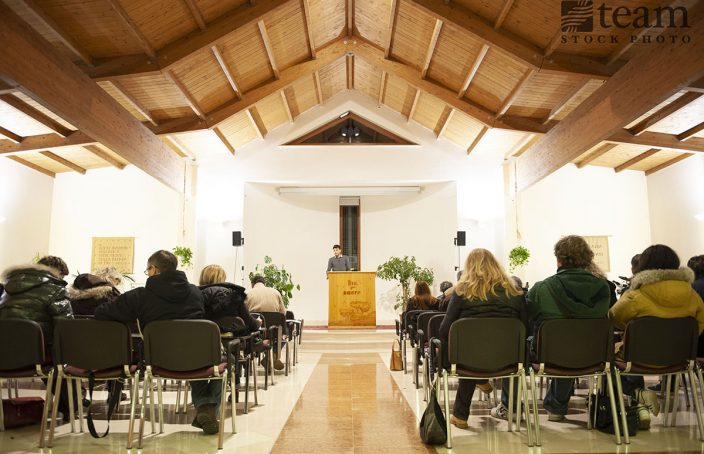 Italian church service, like the one Serena attends now that she's not a persecuted Christian.