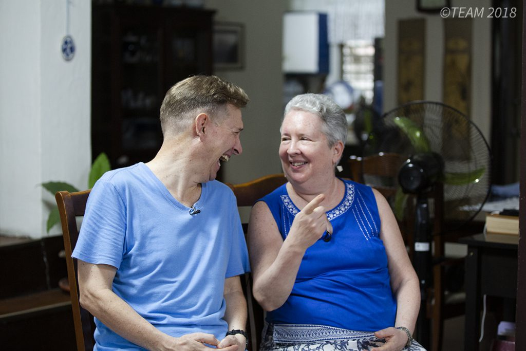 Missionary couple Keith and Grace laugh together