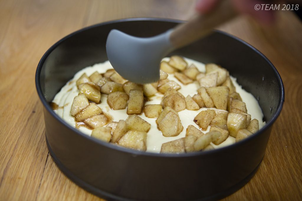 One of the last steps is coating the apples in cinnamon and sugar and spreading them across the top of the torte.