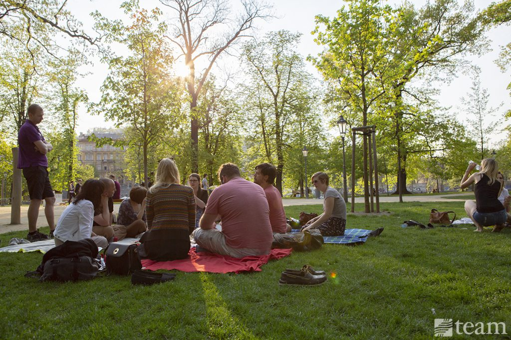 A group of people sit down together for a picnic dinner in the park.