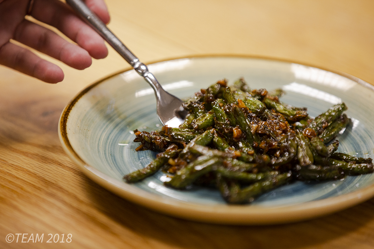 This month we made an asian green bean dish from Taiwan.