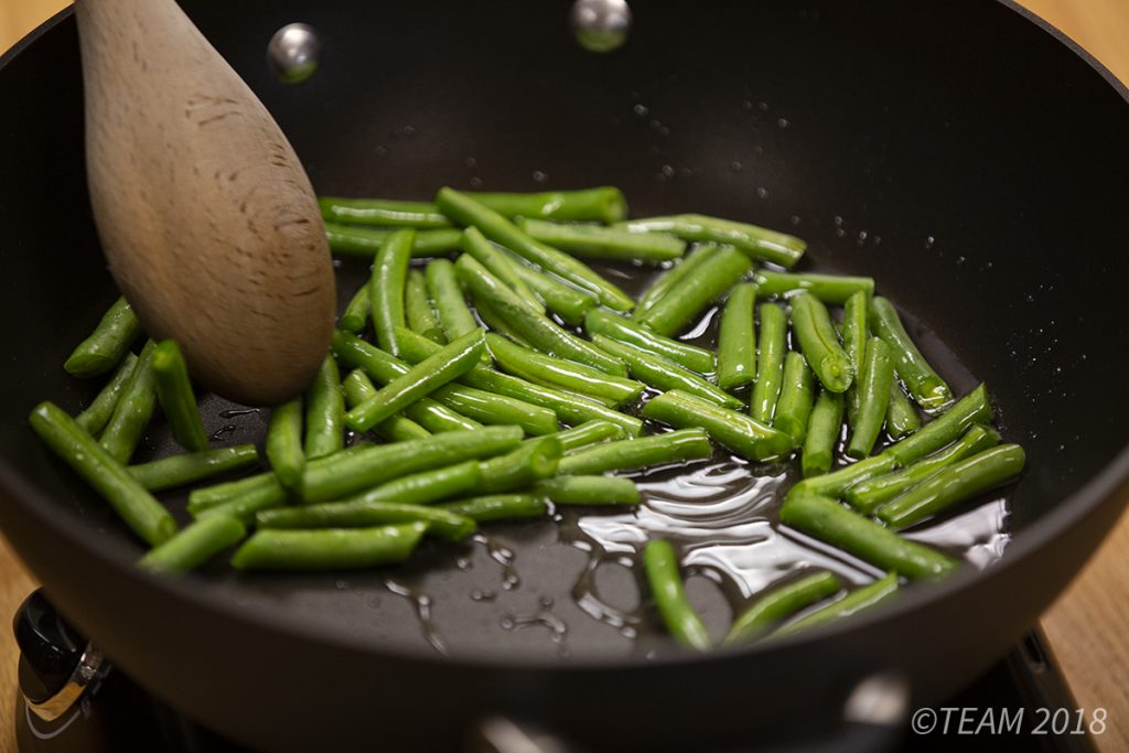 The green beans are stir fried.