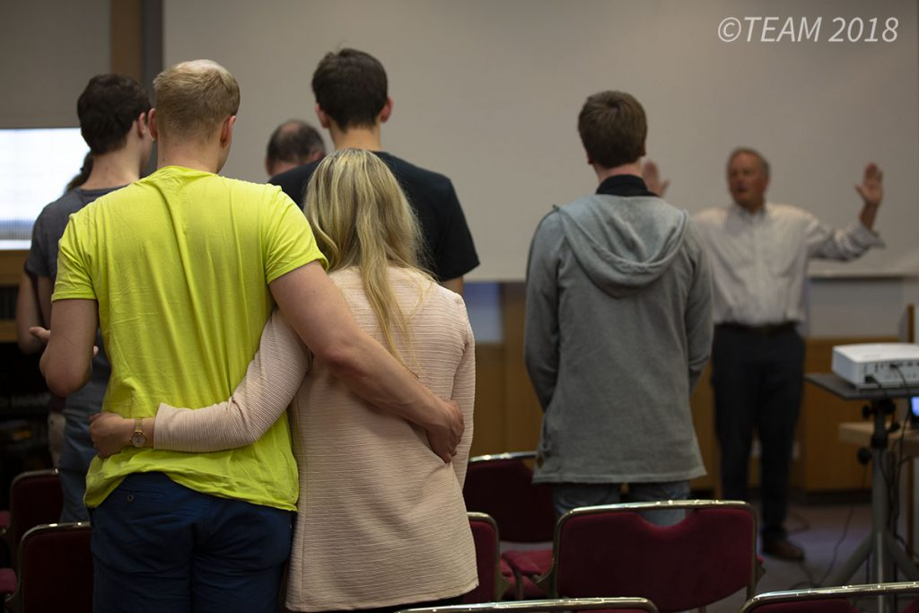 Jeff preaches to his congregation at his church plant in Dresden