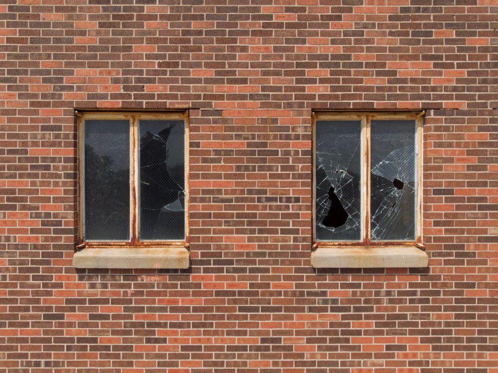 A broken window in a building