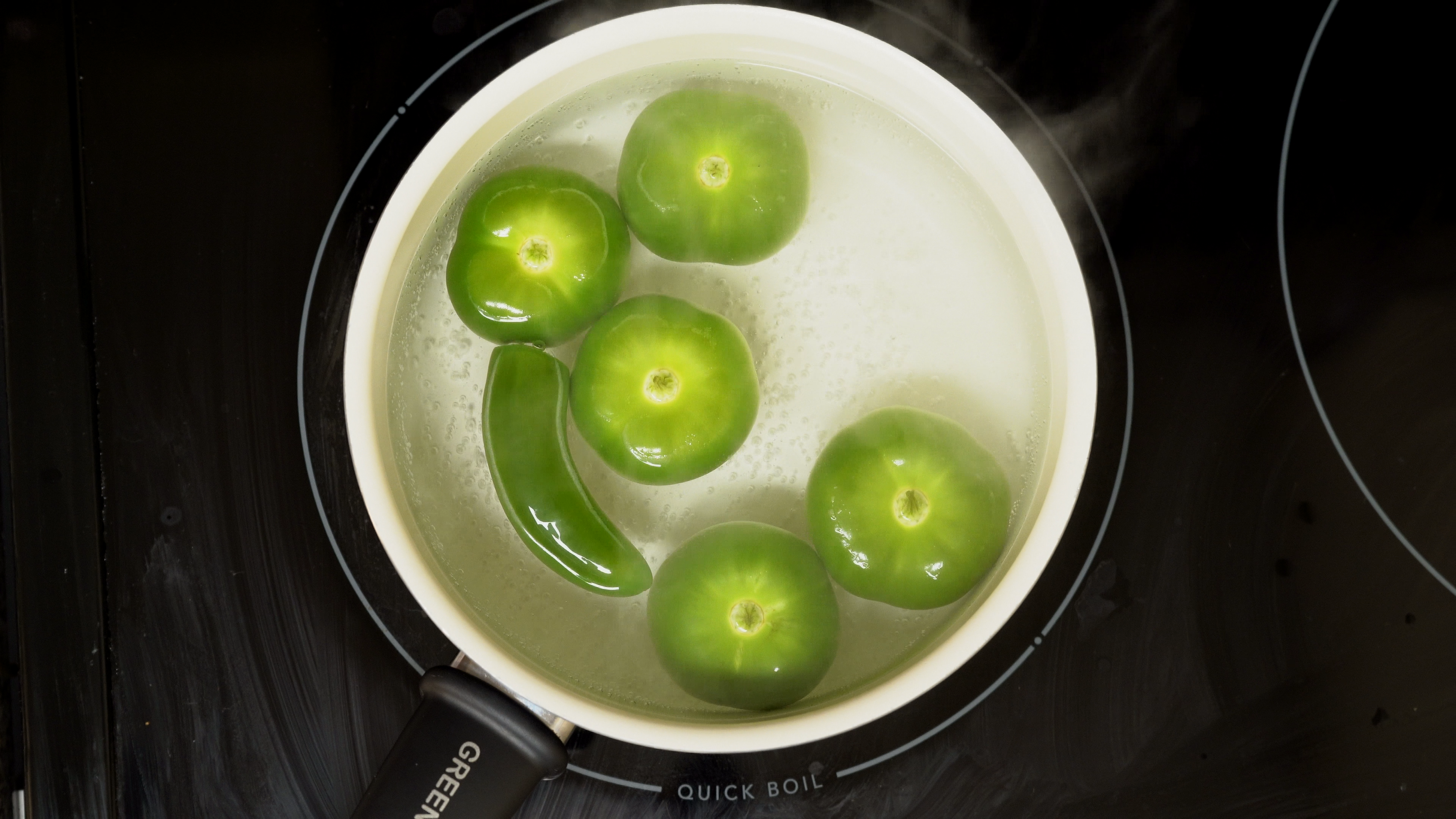 Tomatillos and pepper for enchiladas verdes sauce