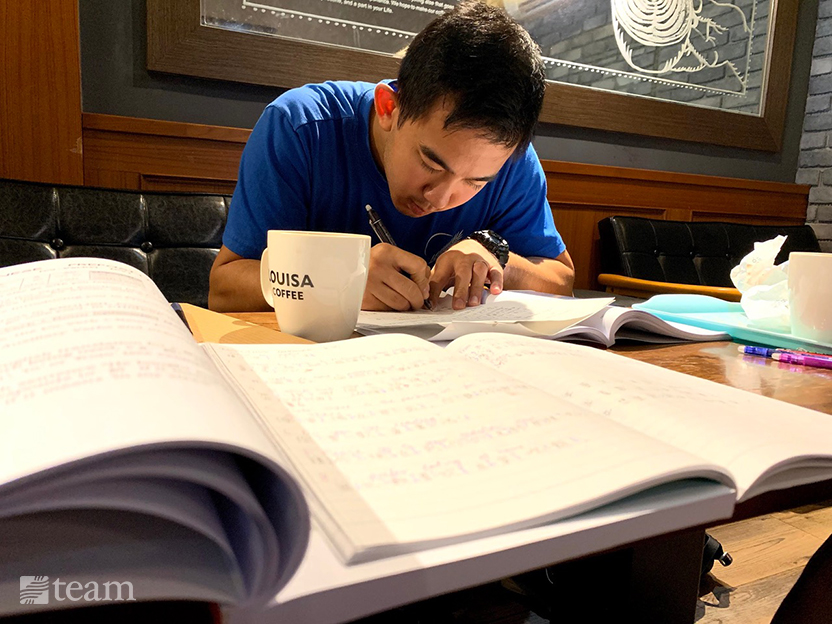 TEAM missionary Kenneth studies for language school