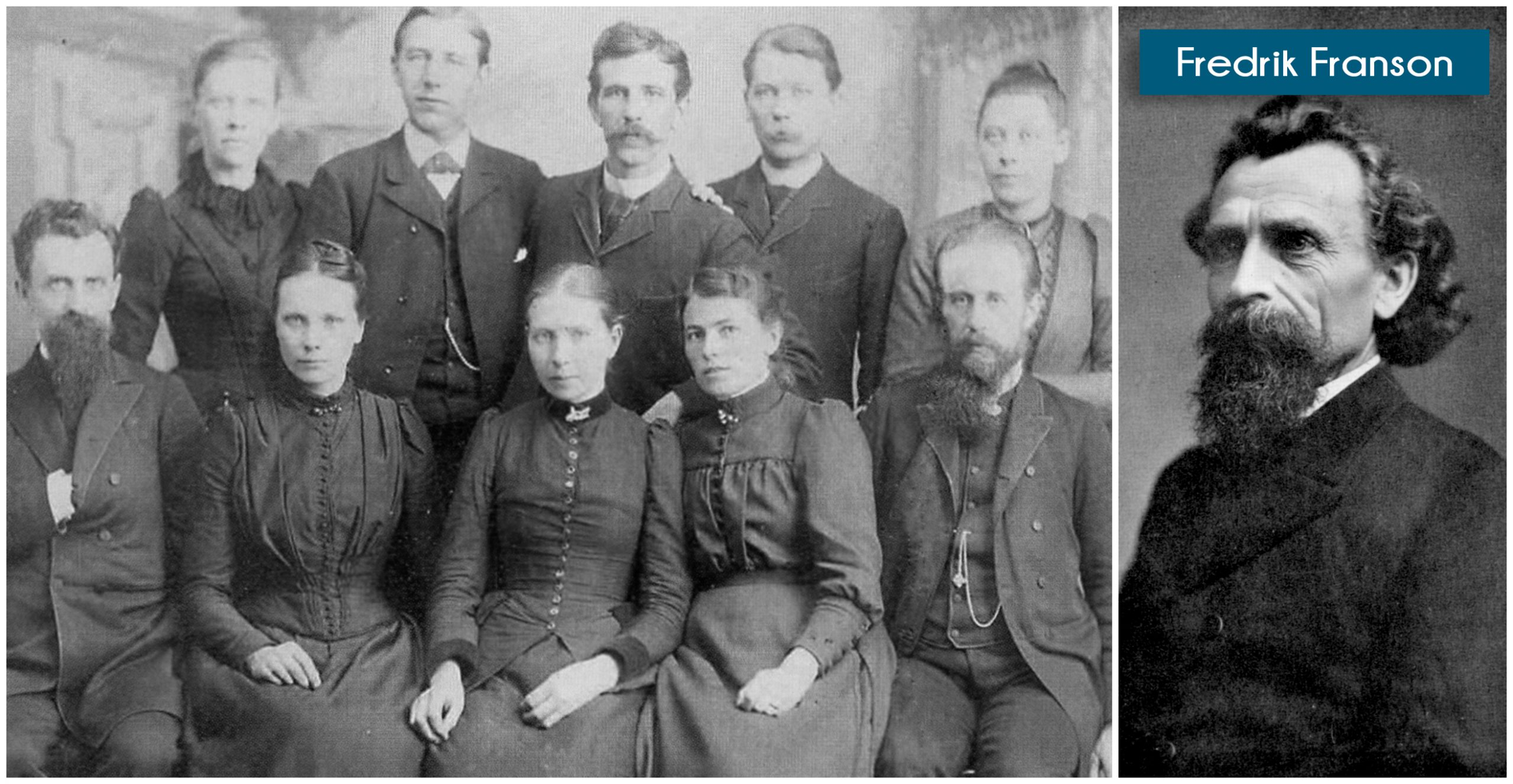 (Left) Fredrik Franson and early missionaries to South Africa. (Right) Fredrik Franson portrait.