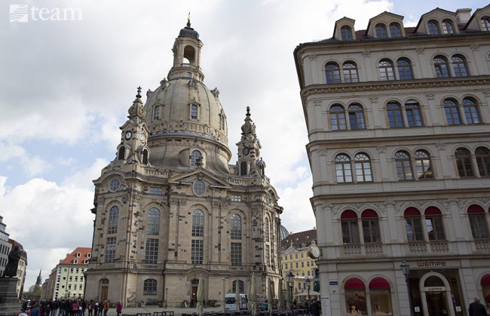 A church stands in Dresden, Germany, a post-Christian culture